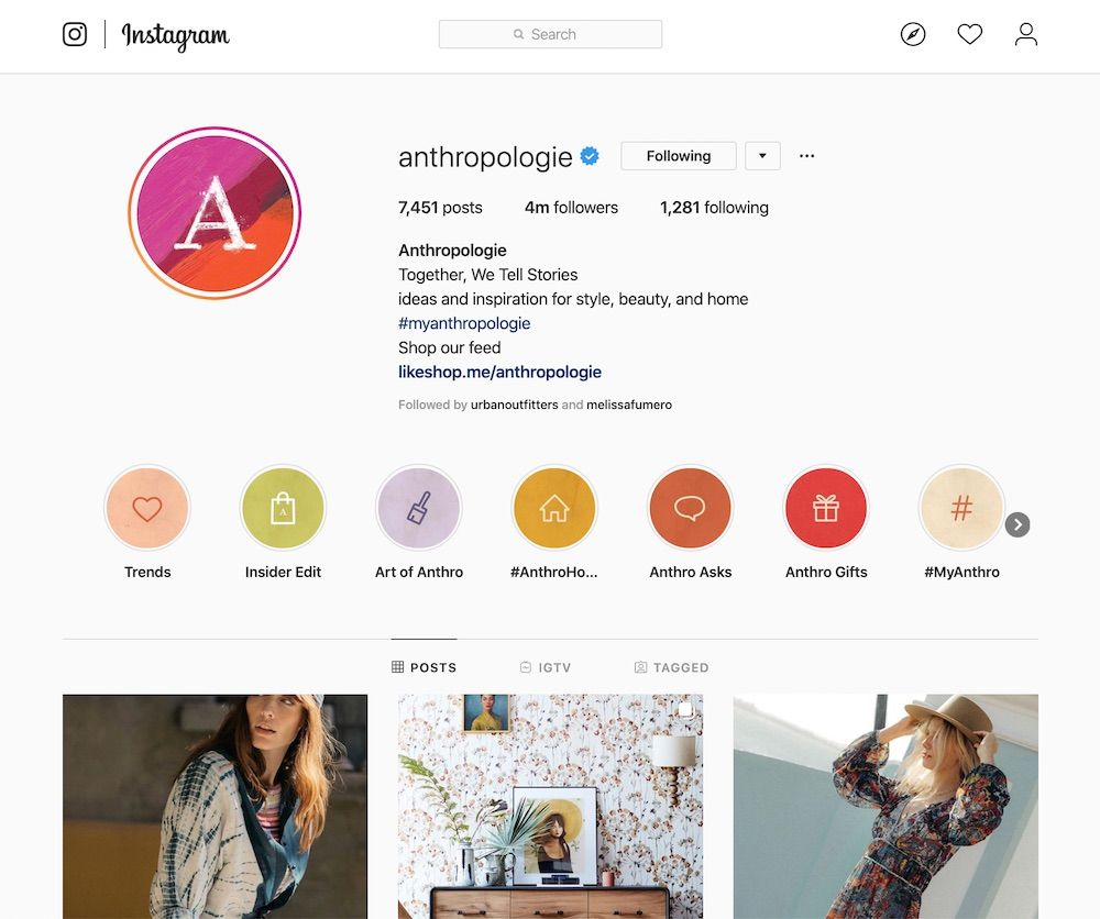 Anthropologie Instagram Stories Highlights as of Feb, 2020.