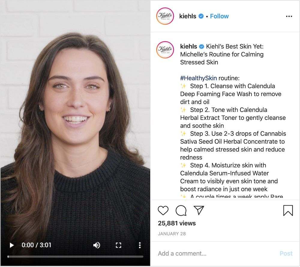 Influencer Michelle shares personal routines in the IGTV channel of Brand Kiehl's