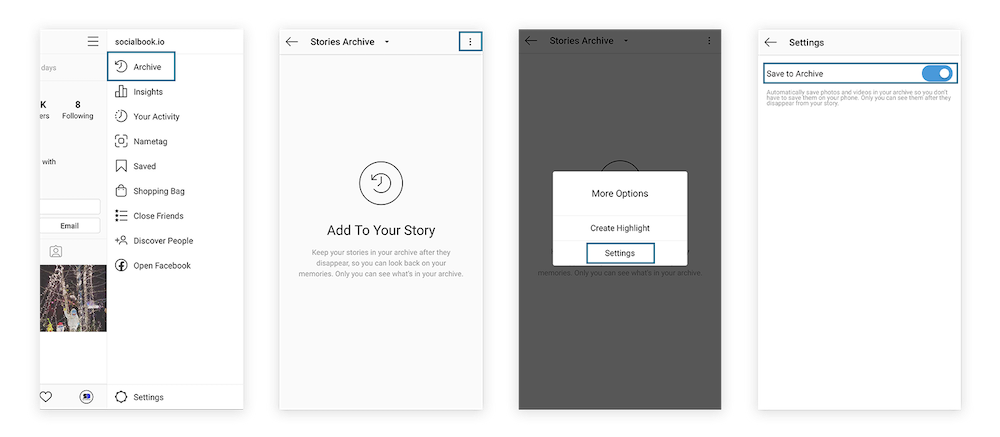 4 steps to turn on auto archive Instagram stories.