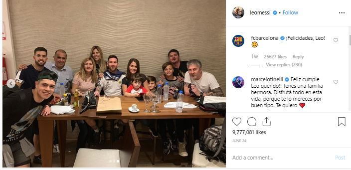The family post of Leo Messi is the 3rd most-liked Instagram post of 2019 June.