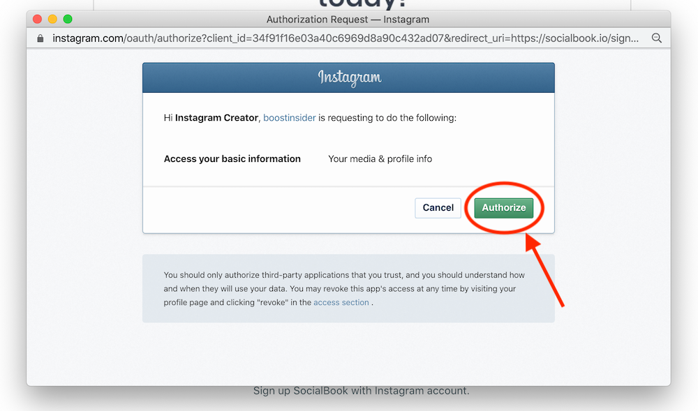 "Click ""Authorize"" to connect your Instagram account with SocialBook."