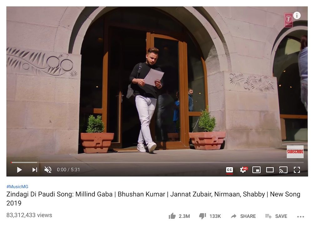 Zindagi Di Paudi Song from T-Series YouTube channel