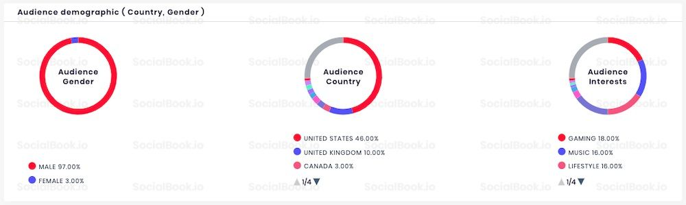 The audience demographics data of WWE YouTube channel. (Data from SocialBook)