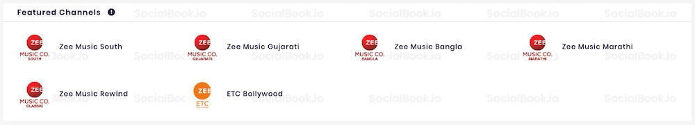 "In SocialBook channel analytics, user can check the ""Featured Channels"" section for related channels."