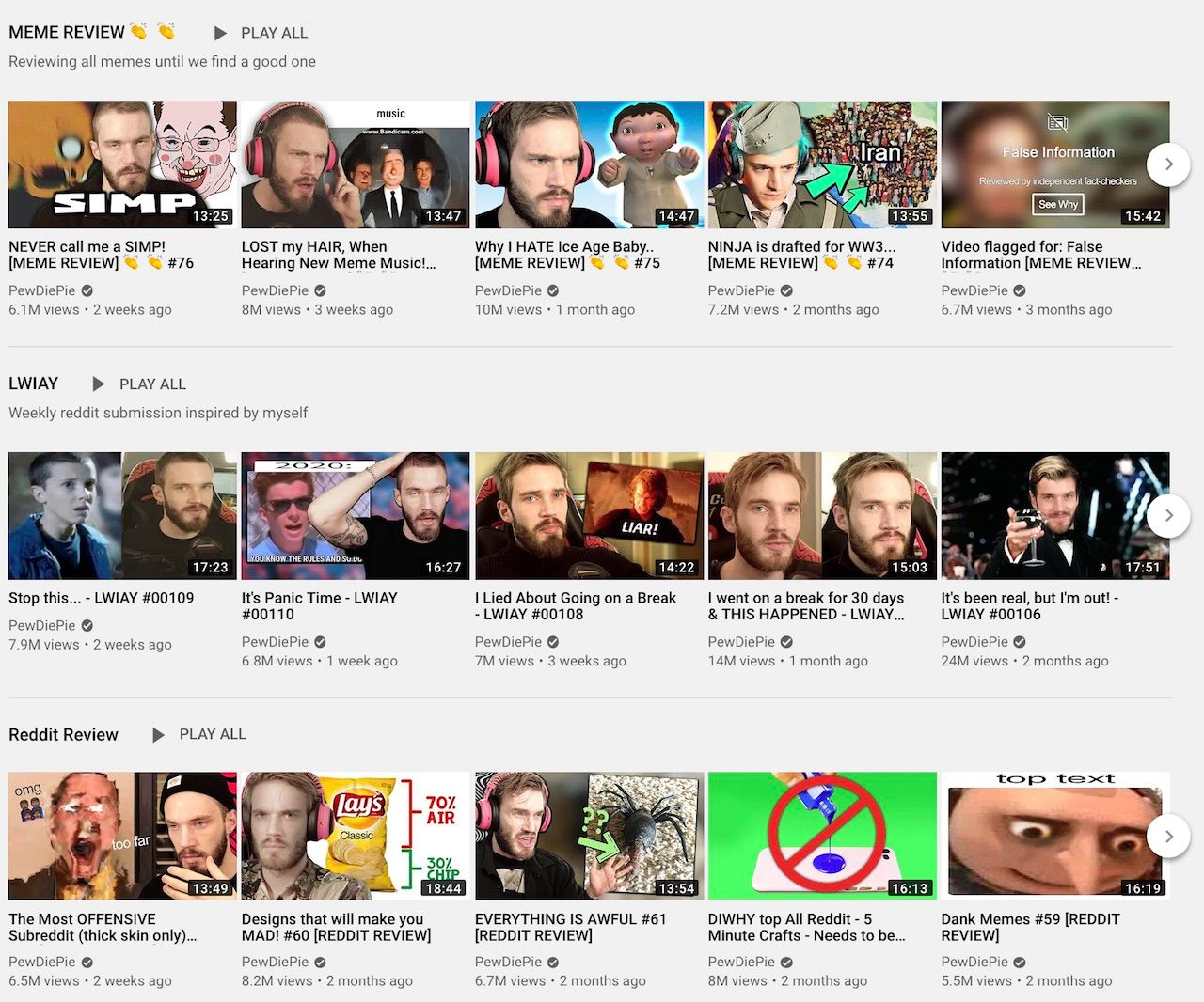 Some of the most viewed non-gaming series in PewDiePie's YouTube channel.