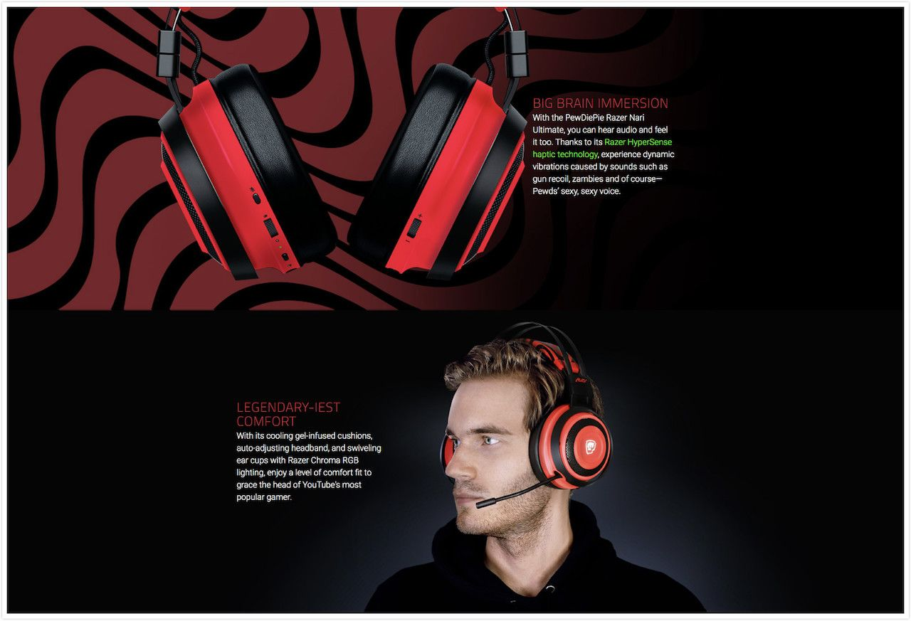 PewDiePie Razer Nari Ultimate Gaming Headset