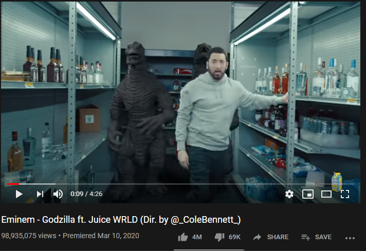 2nd Most-liked YouTube video of March 2020: Eminem 'Godzilla' Official MV