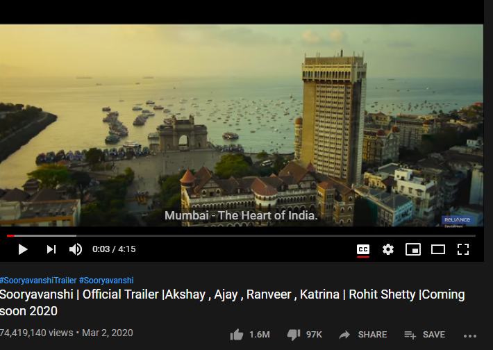 7th Most-liked YouTube video of March 2020: Sooryavanshi Official Trailer