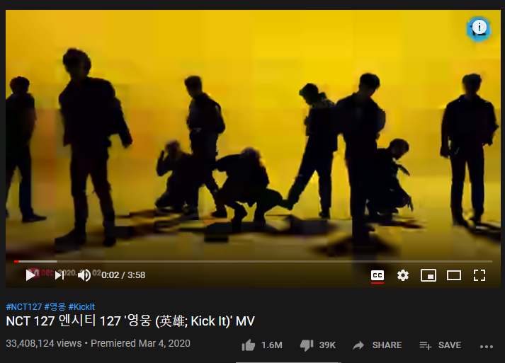 9th Most-liked YouTube video of March 2020: NCT 127 'KICK IT'
