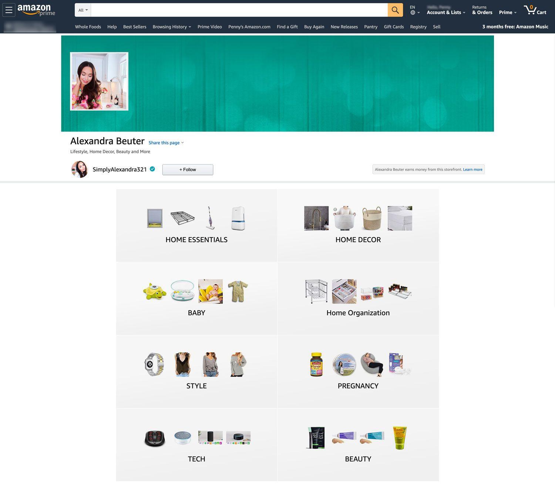 Amazon influencer program page of Alexandra Beuter