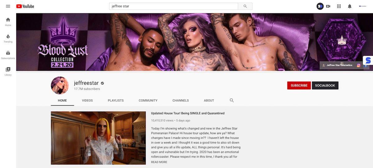 Jeffree Star's YouTube channel