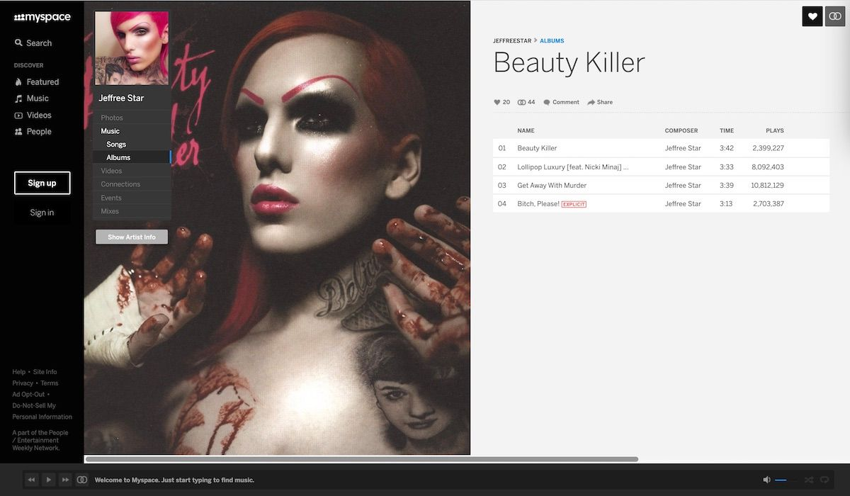 Jeffree Star's first and last studio album 'Beauty Killer'