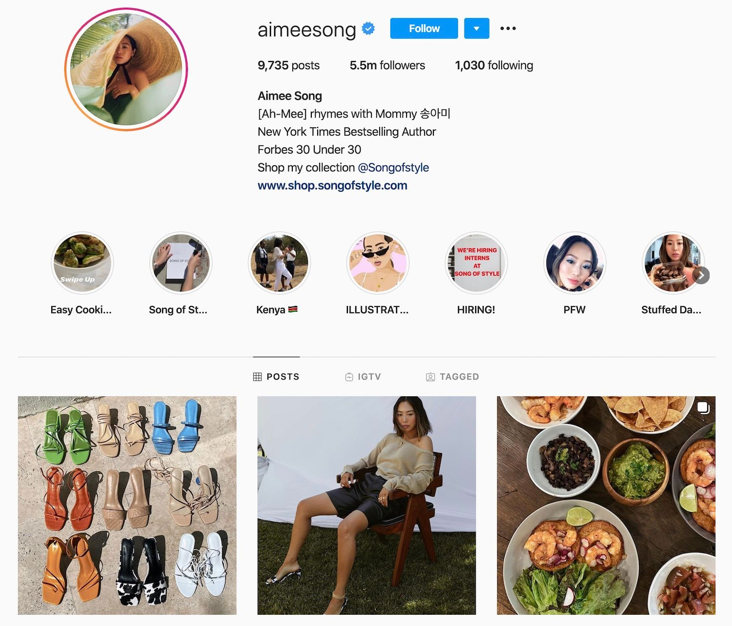 Aimee Song's Instagram Account