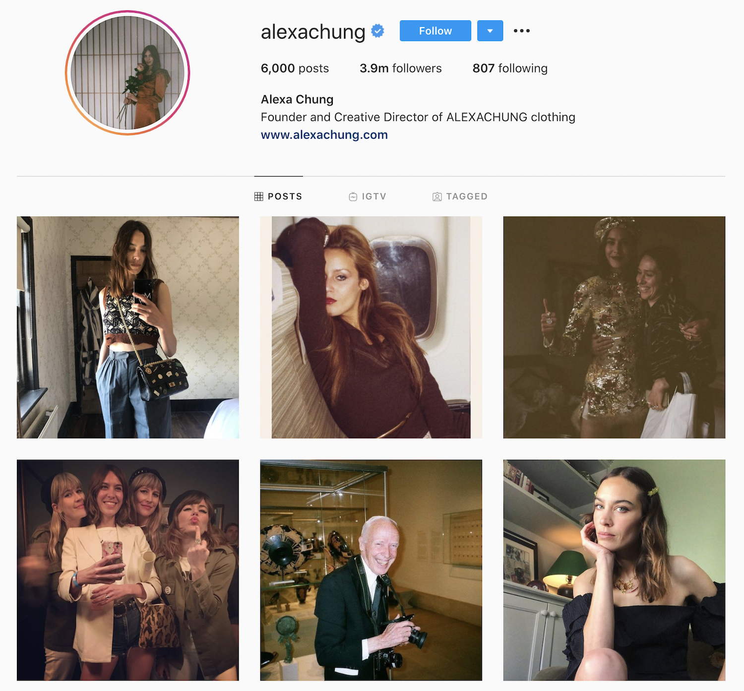 Alexa Chung is followed by many fashion brands and celebrities on Instagram.