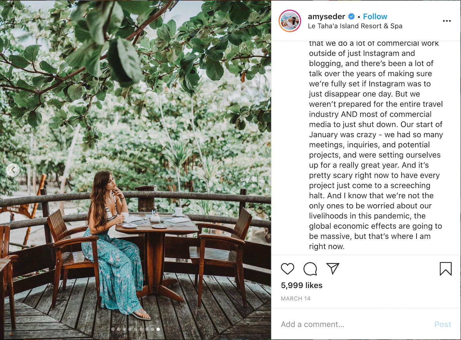 Influencer Amy Seder shared her worries about the entire travel industry on Instagram.