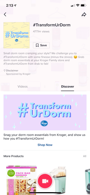 Kroger added a direct purchase page in their TikTok #TransformUrDorm campaign.
