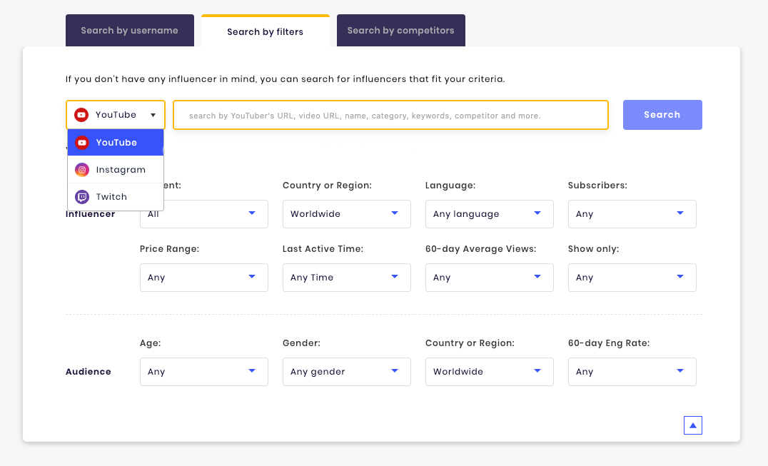 Use SocialBook Advanced Filters to find influencers right for your brand.