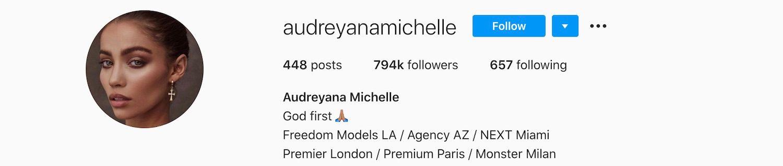 Audreyana Michelle Instagram