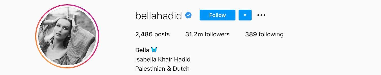 Bella Hadid on Instagram