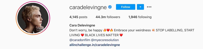 Cara Delevingne has over 44 Instagram followers.