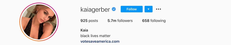 Kaia Gerber Instagram