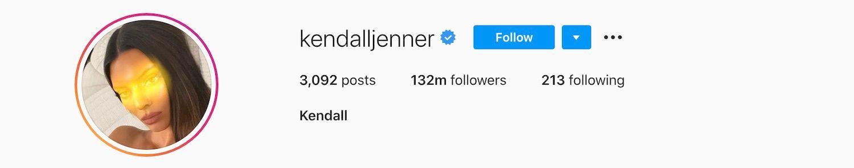 Kendal Jenner has 132 million followers on Instagram.