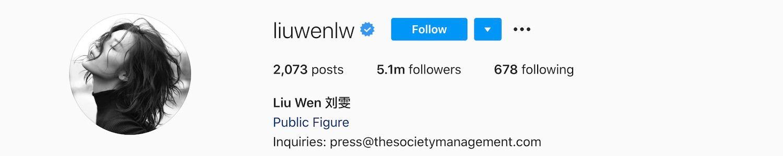Liu Wen Instagram