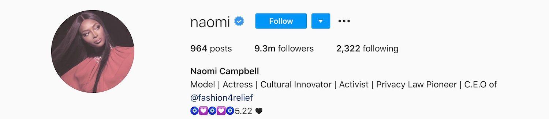 Naomi Campbell Instagram