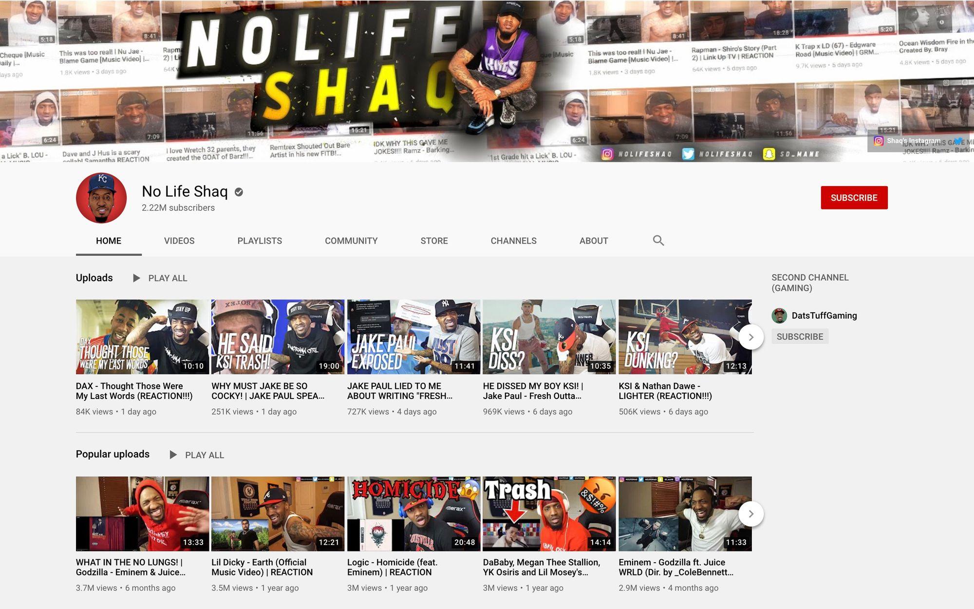 No Life Shaq YouTube channel