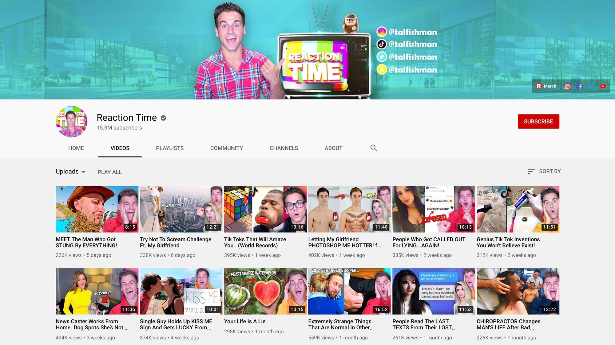 Reaction Time YouTube channel