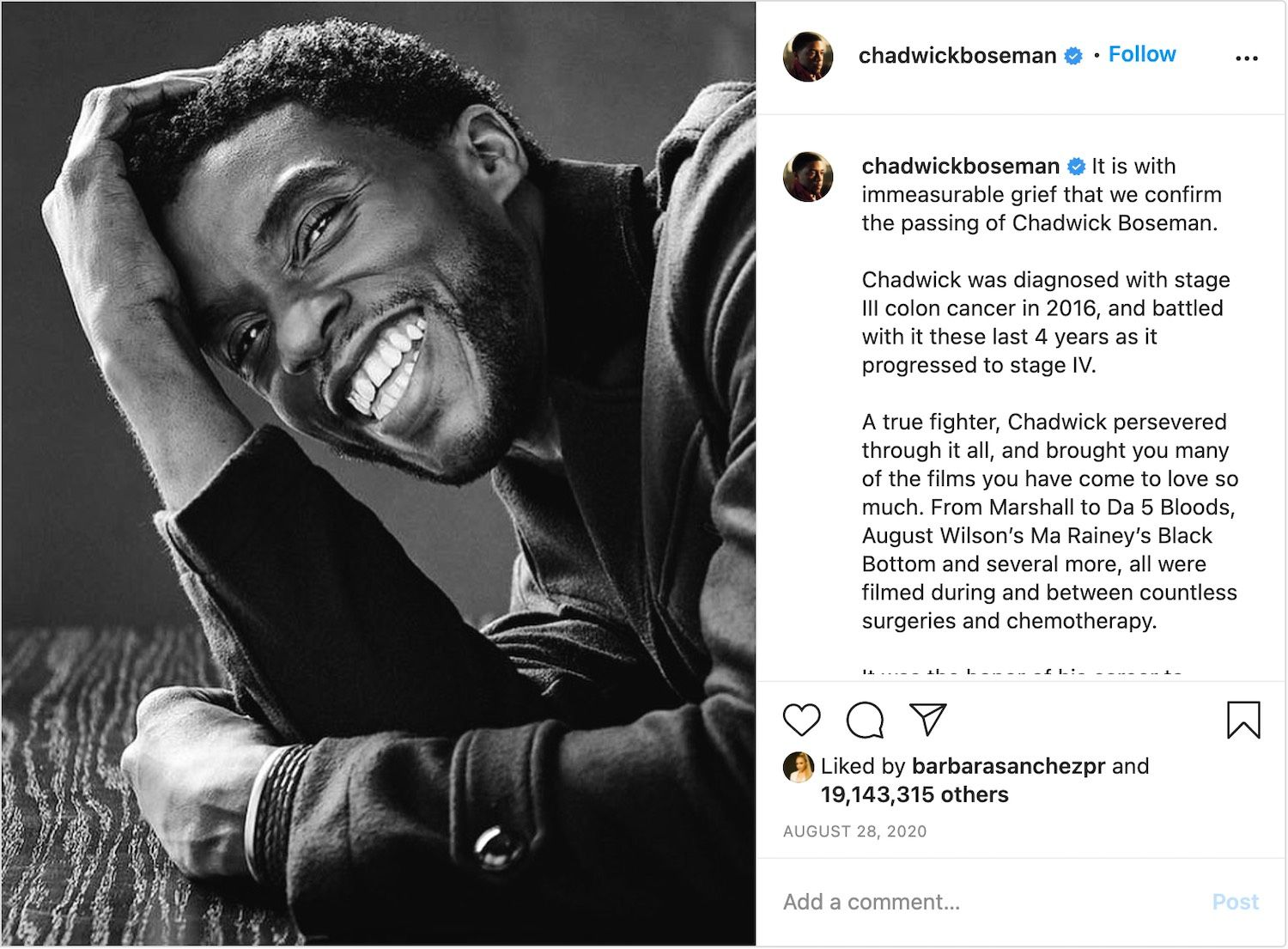 The Instagram post confirm the death of Chadwick Boseman received over 19 million likes.