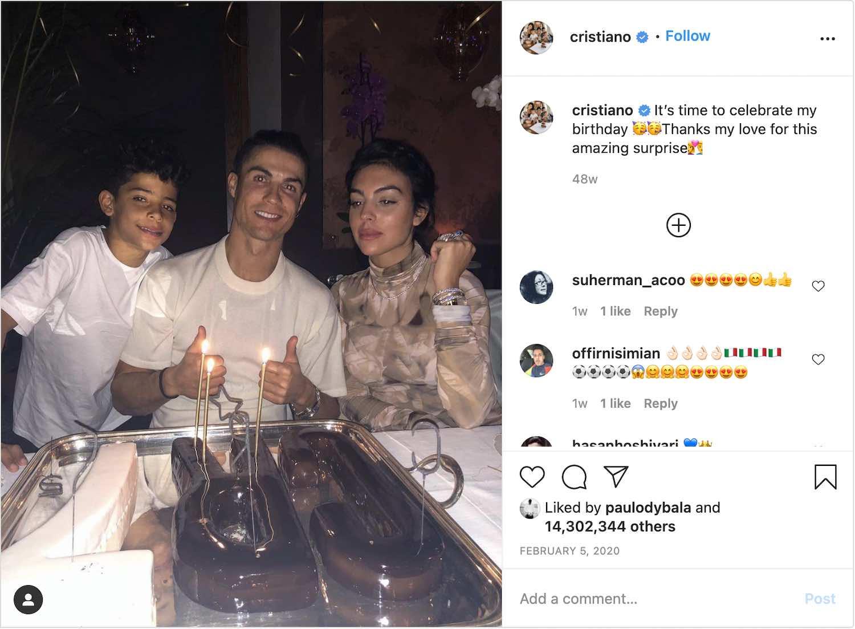 Cristiano Ronaldo's Instagram post celebrating his birthday with family.