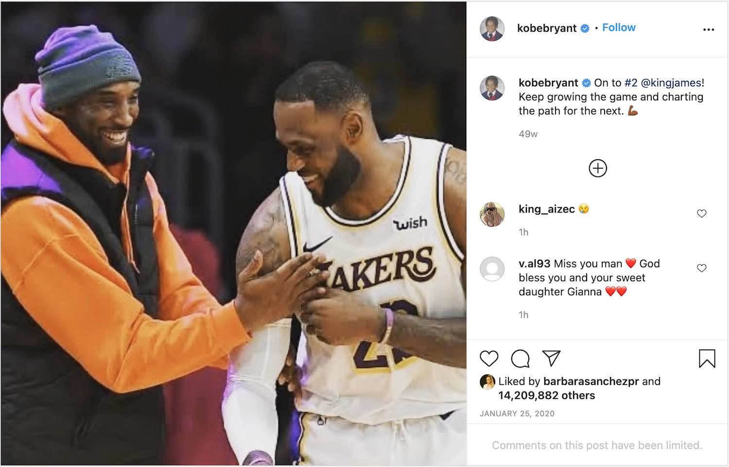 Kobe Bryant's last Instagram post is a picture of LeBron James and himself.