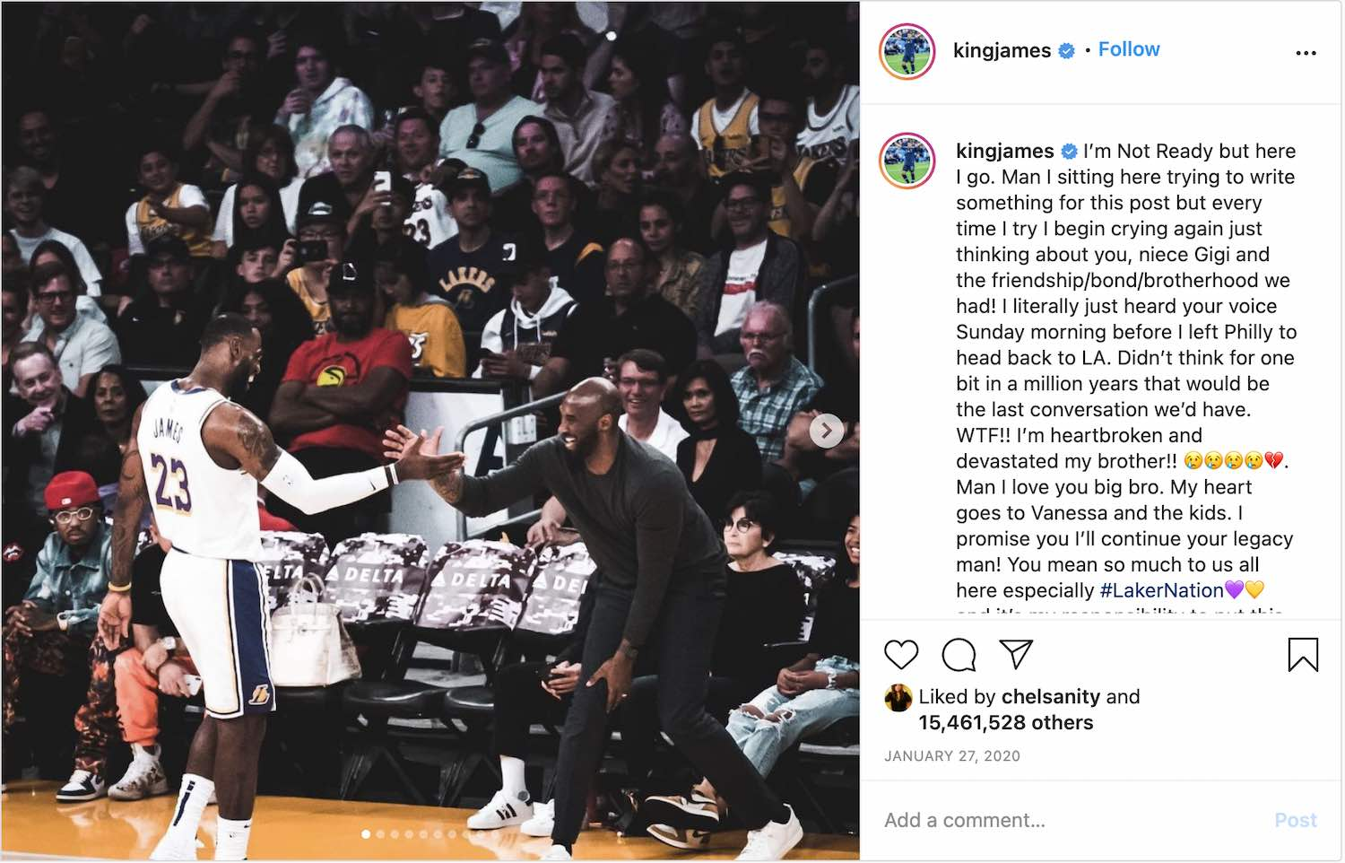 LeBron James shared his photo with Kobe Bryant on Instagram after Kobe's death.