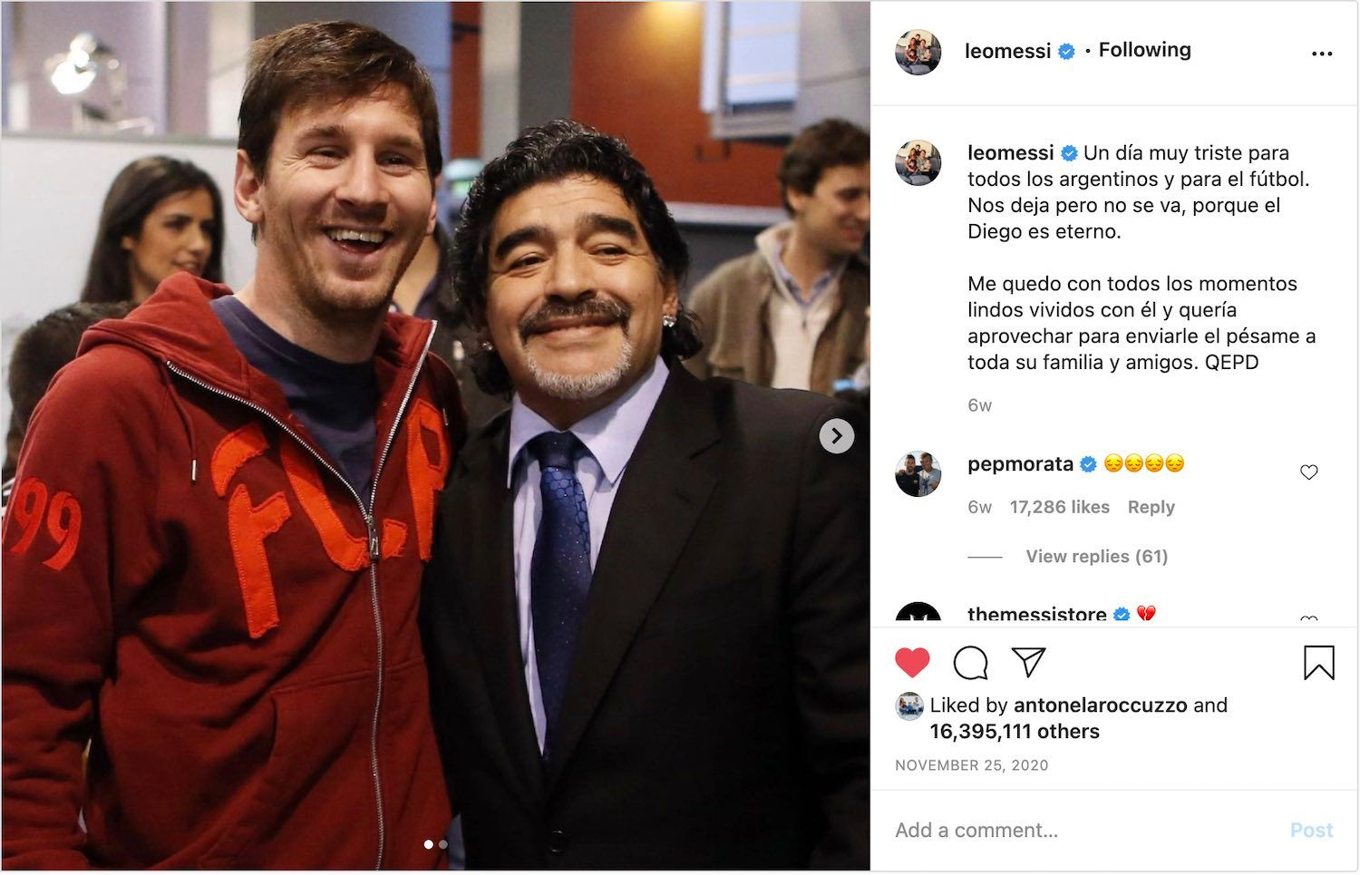 Lionel Messi's tribute to Diego Maradona is the 3rd most liked Instagram of 2020.