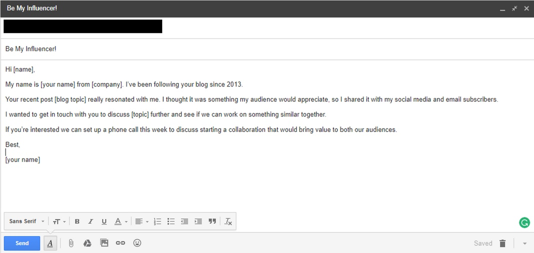 Sample email template when reach out influencers.