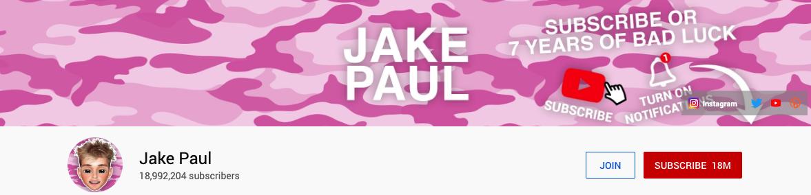Influencer Jake Paul YouTube