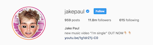 Jake Paul's Instagram channel