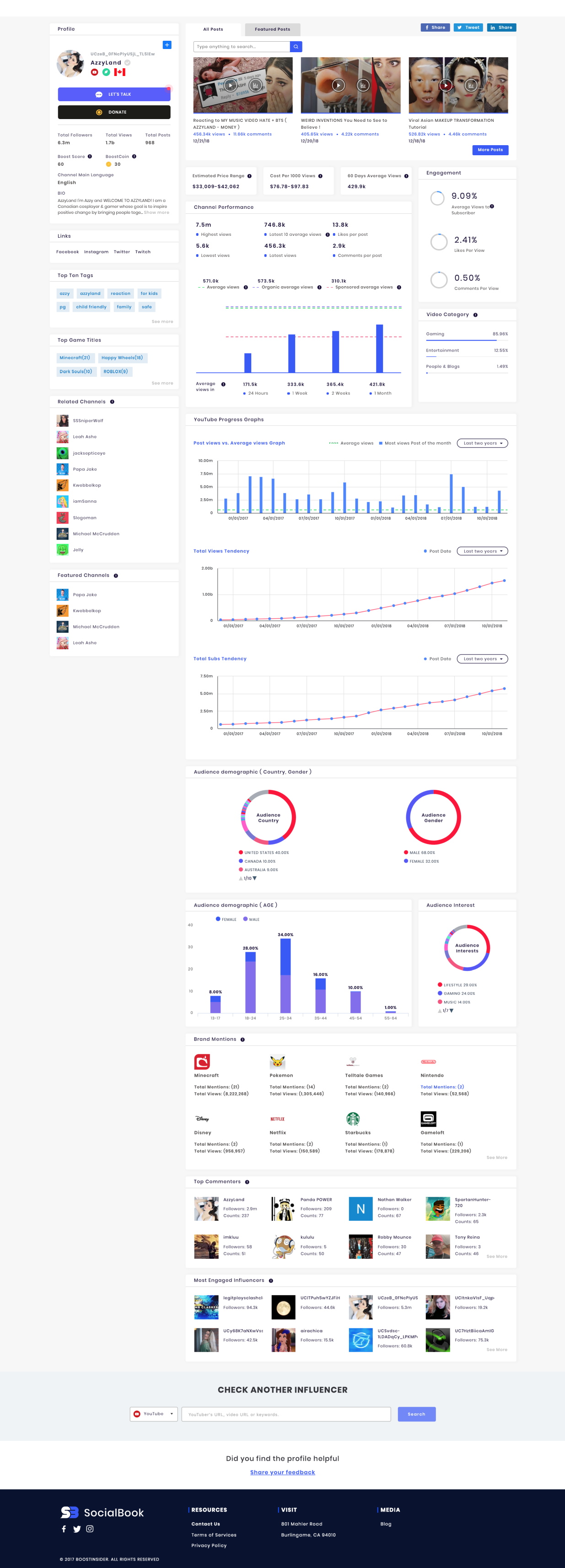 The sample YouTube channel analytics provided by SocialBook.