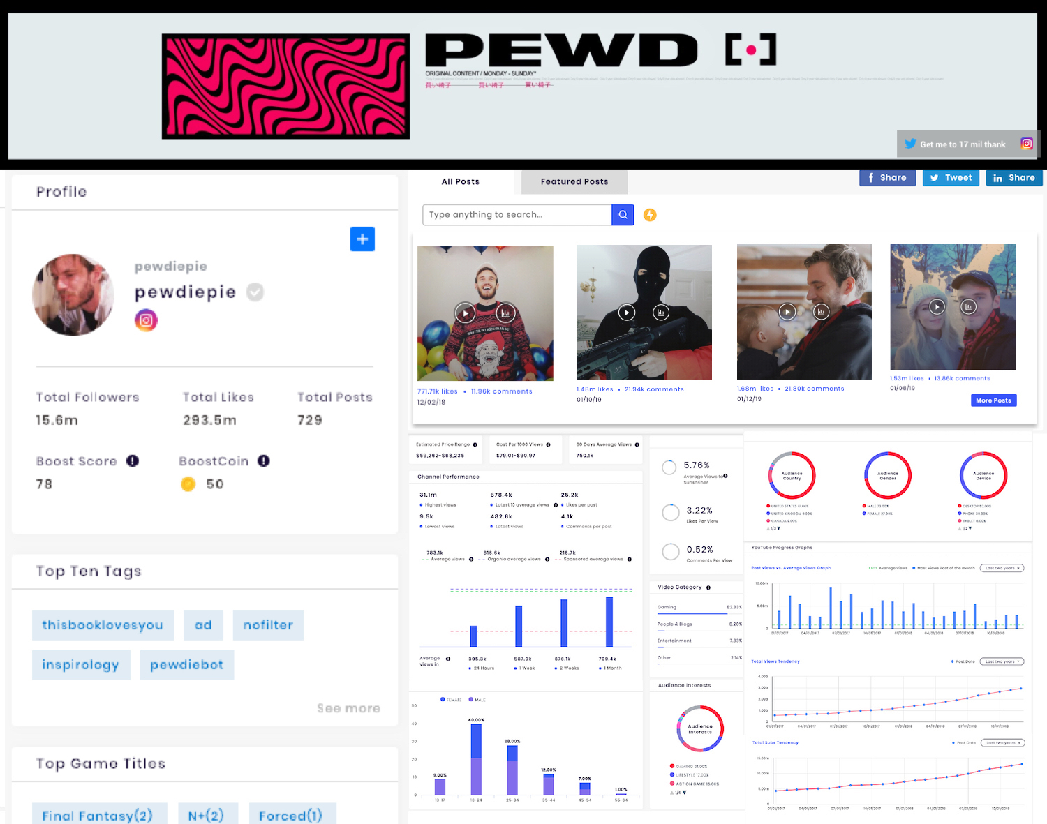 SocialBook provides in-depth channel analytics of YouTube and Twitch gaming influencers.