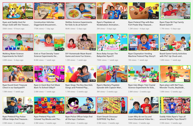 Ryan ToysReview regularly post review and unboxing videos of toys.