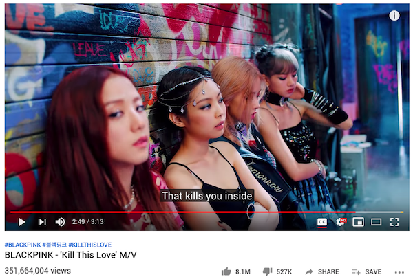 """Kill This Love"" music video by BLACKPINK has been watched over 351 million times on YouTube."