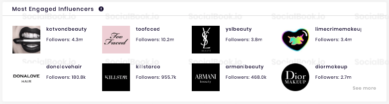 "SocialBook influencer profile lists the ""Most Engaged Influencers"" of that channel."