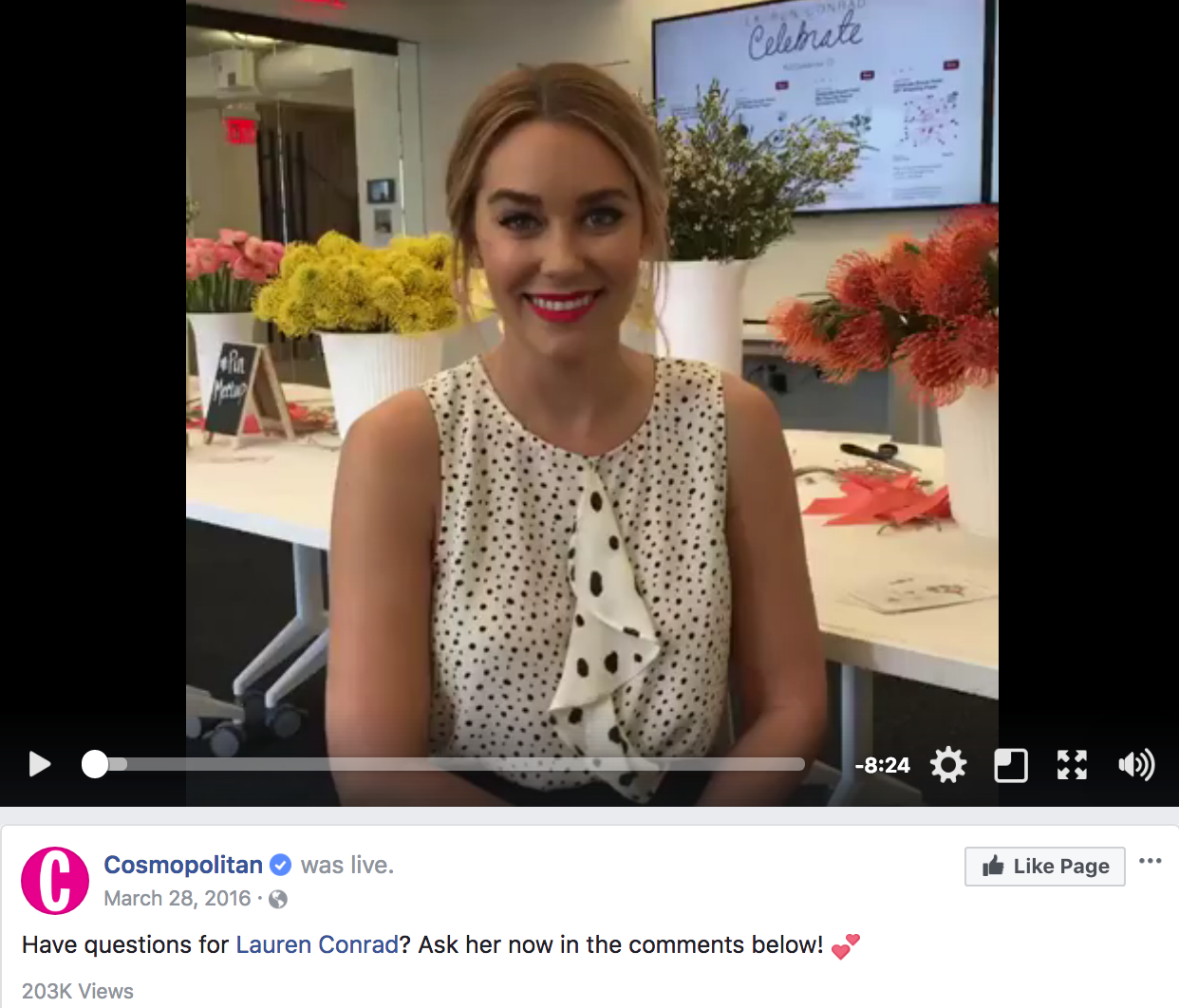 Influencer Lauren Conrad hosted the live stream on the official channel of Cosmopolitan.