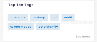 SocialBook provides top tags of each influencer channel.