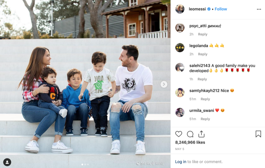 Messi with his family