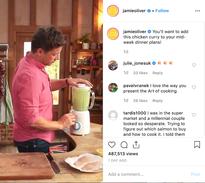 Instagram post of Food Influencer Jamie Oliver