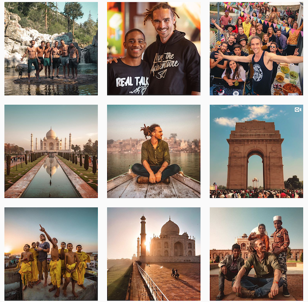Instagram Posts of Travel Influencer Louis Cole