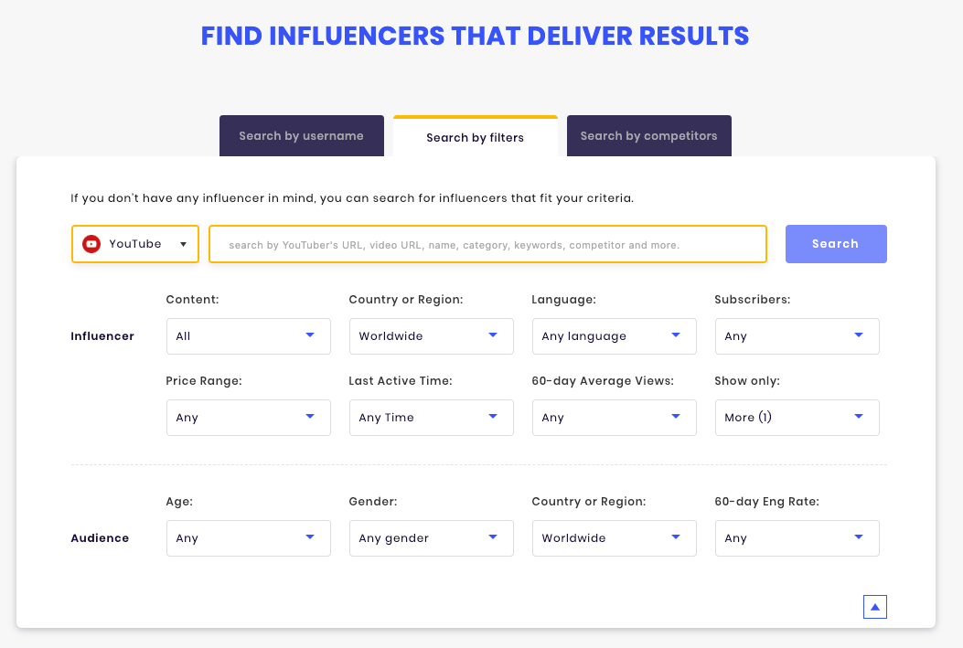 Search influencers by audience demographic on SocialBook