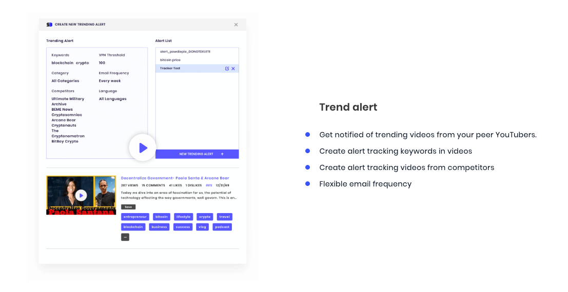 Get the trend alert to create the video to engage with community by using SocialBook YouTube Builder